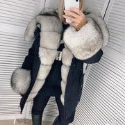 Fashion long-sleeved fur warm jacket (removable fur)