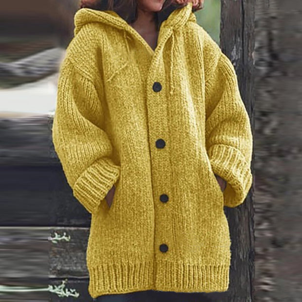 Casual hooded solid color long-sleeved button knit cardigan