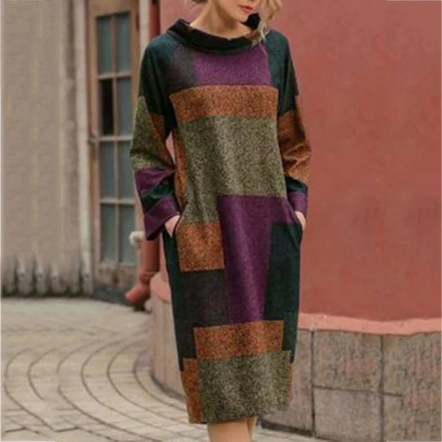 Women's casual contrast color long-sleeved loose dress