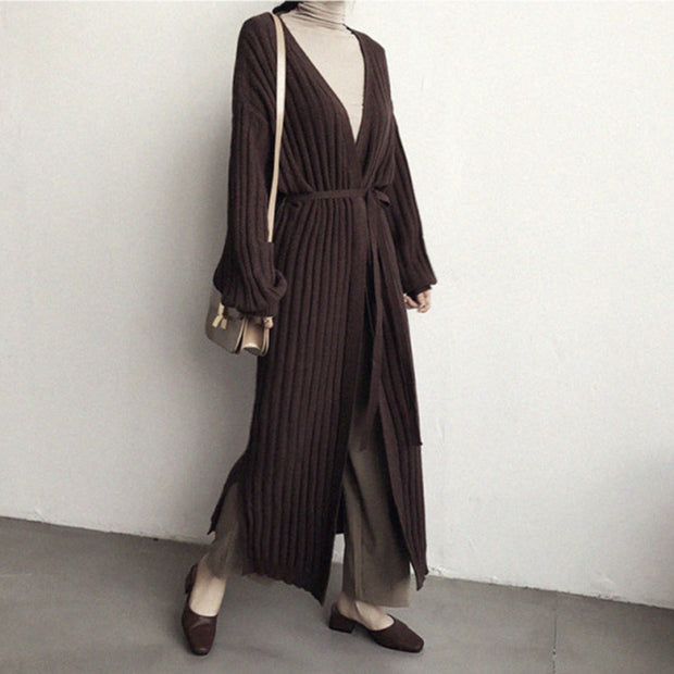 Fashion Solid Color Long Sweater Knit Cardigan