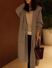 Casual Long Sleeve Pure Colour Loose Cardigan