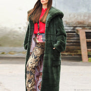 Noble Luxury High Imitation Hooded Long fur coat
