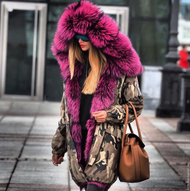 Modern Fashion Style Camouflage High Imitation Cotton fur coat