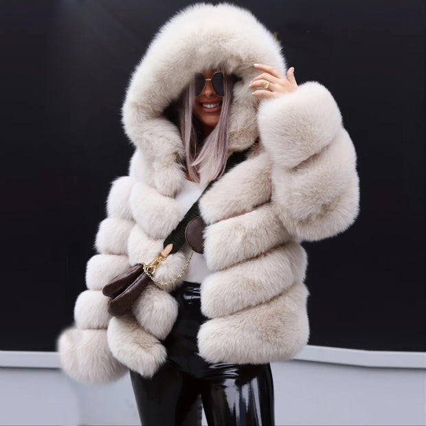 Autumn and winter fashion hooded coat jacket imitation fur grass