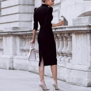 Autumn And Winter Commuter Style Solid Color Tight Dress Bag Hip Skirt  Bodycon Dress
