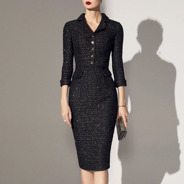 Autumn and winter texture commuter dress bodycon dress