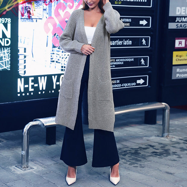 Simple solid color long V-neck cardigan