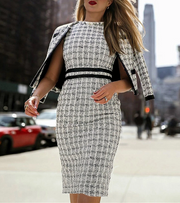 Commuting Round Neck Check Two-Piece Bodycon Dress