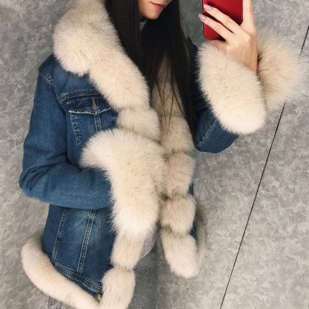 Fashion long-sleeved denim warm jacket (removable fur collar)