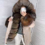 Fashion long-sleeved fur warm jacket (removable fur collar)