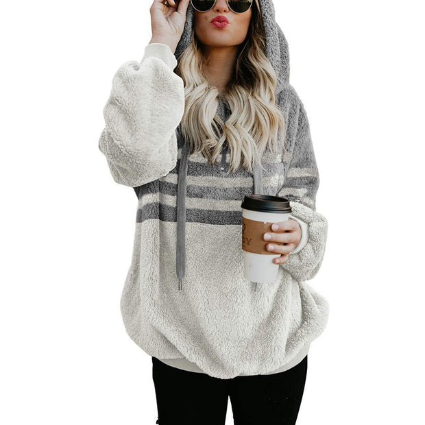 Casual Loose Striped Spliced Hoodies