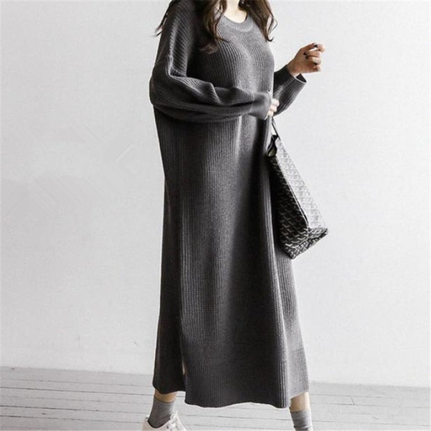 Fashion Simple V Neck Frenulum Knitted Dress