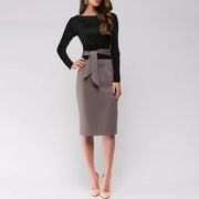 Autumn And Winter Waist Tie-Up Bag Hip Skirt Bodycon Dress