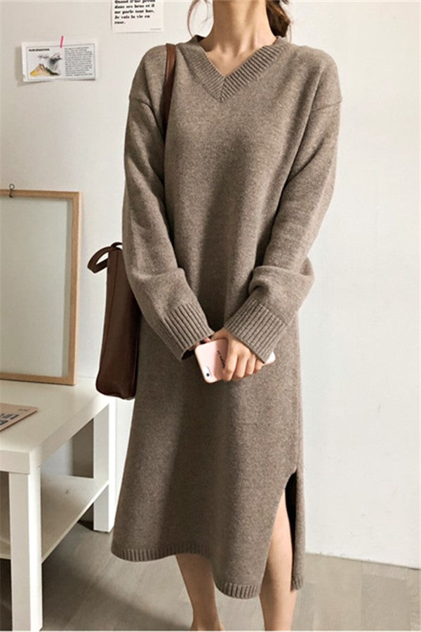 Fashion V Neck Split Loose Knitted Maxi Dress
