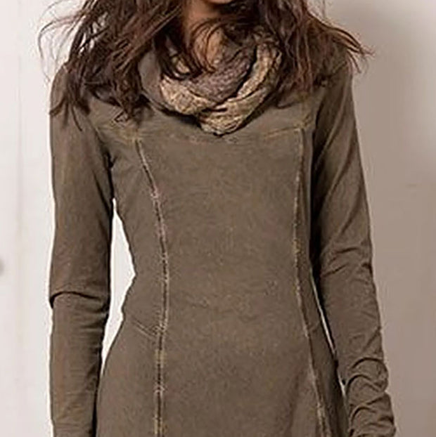 Khaki loose casual long dress