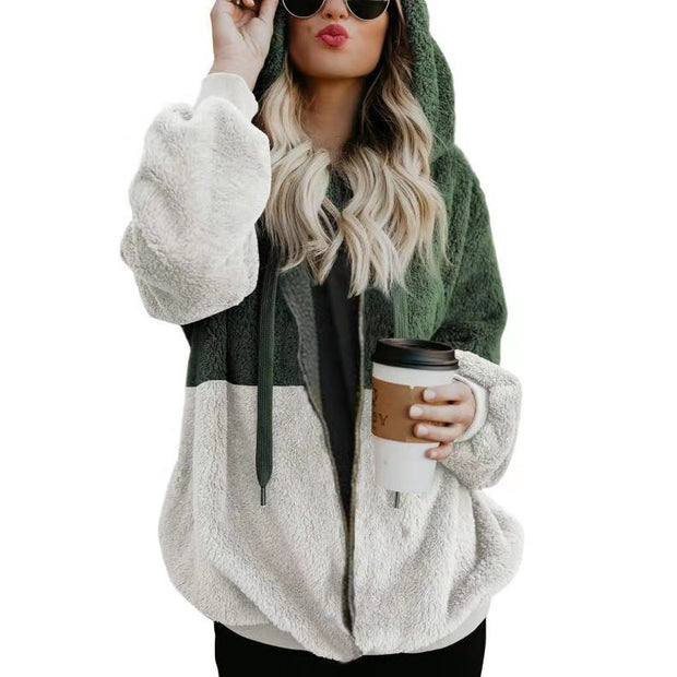 Casual Hooded Dyed Loose Dyed Fluffy Zipper  Jacket