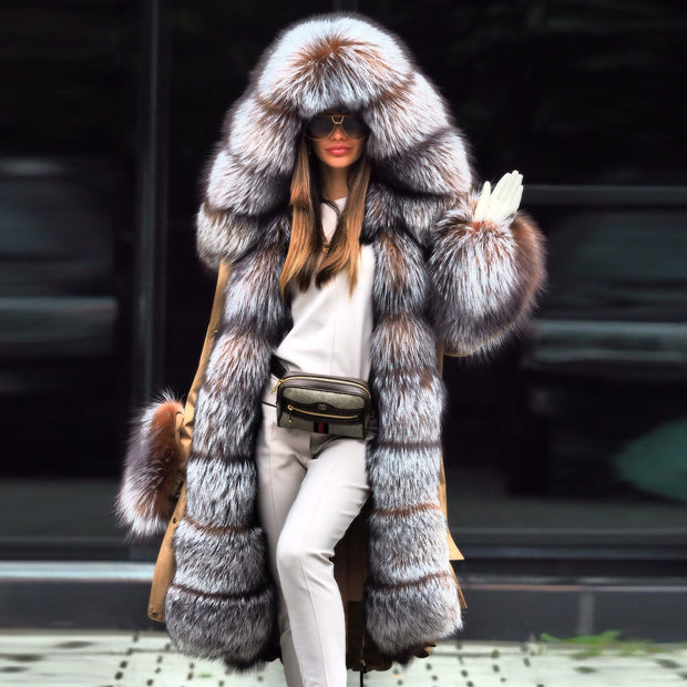 Noble Luxury Fashion Stitching Faux Plus Long fur coat