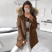 Fashion hooded fur collar solid color large pocket cotton coat