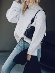 Fashion Pile Collar Solid Color Sweater