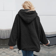 Casual Loose Pure Colour Zip Hooded Sweatshirt