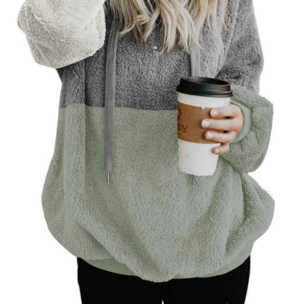 Casual Hooded Colouring Loose Colouring Fluffy Sweatshirt