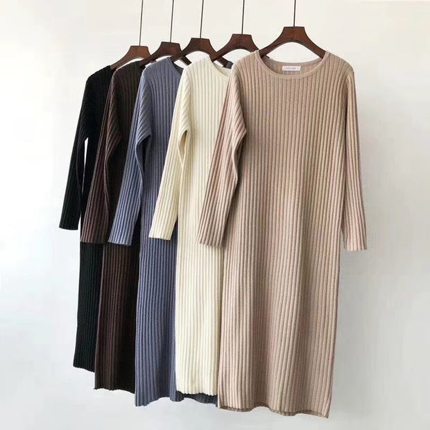 Women's casual round neck pure color loose dress