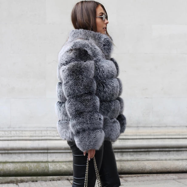 Autumn And Winter Faux Fur Stand Collar Coat