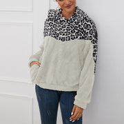Leopard Stitching Long Sleeve Hooded Sweater