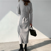 Women's v-neck irregular lace-up long-sleeved knit dress