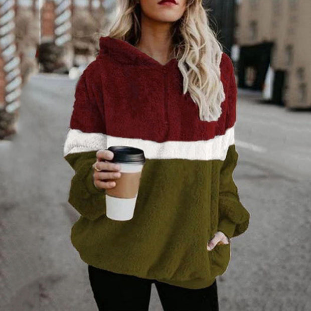 Casual Stitching Hooded Sweatshirt