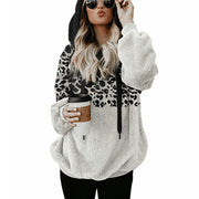 Casual Loose Leopard Print Spliced Hooded Sweatshirt