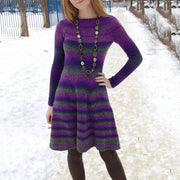 Fashion round neck gradient long sleeve dress