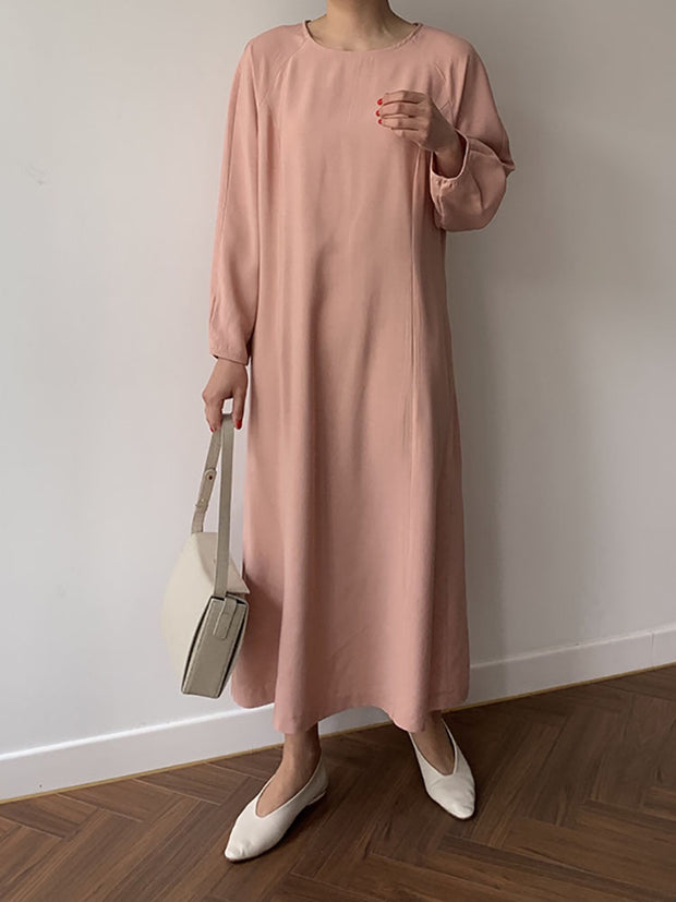 Solid color loose round neck dress