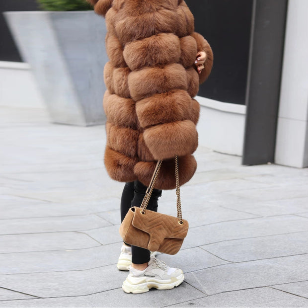 Autumn And Winter Pure Color Hooded Plush Coat