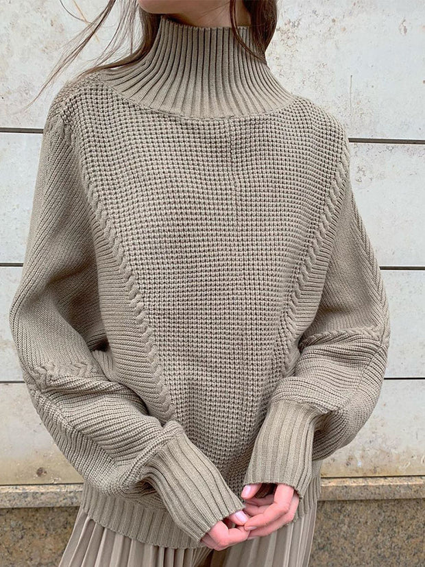 Womens Casual High Collar Solid Colour Loose Sweater