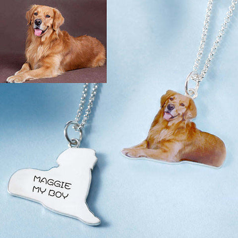 Pet Dog Cat Full Color Photo Necklace Sterling Silver