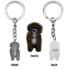 Personalized Engraved Pet Dog Cat Photo Keychain Sterling Silver