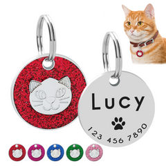 Personalized Cat ID Tag Engraved Cats Name Tags Paw Print