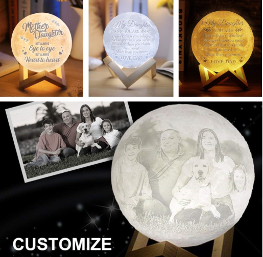 Dropship 3D Printing Moon Light Photo/Text Customized Personality Lunar USB Charging Night Lamp Touch Control 16 Colors