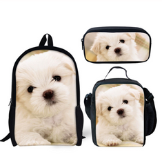 3pcs Sets Personalize 3D Printing School Bags For Teenage Girls Boys Cute Dog Backpack Kids Schoolbag Child Mochila