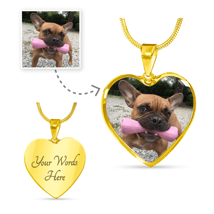 Personalized Engravable Pet Photo Heart Necklace 316 Steel