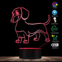 Sausage Dog Dachshund Kid Room Night Light Table Lamp Wiener-Dog Pet Puppy Glowing LED Optical Illusion Lamp Decorative Lighting