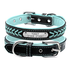 Customized Dog Collars Adjustable Padded Leather Personalized Pet Name ID Collar