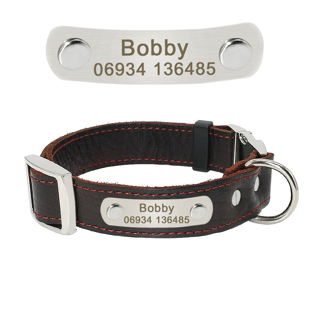 Personalized Customized Dog Collar Genuine Leather Adjustable Engraved ID Dog Collars