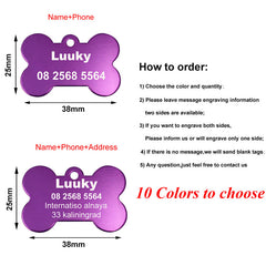 Personalized Pet ID Tags Stainless Steel  cats and dogs Collar Accessories  Engraved Tel Sex Name Tag
