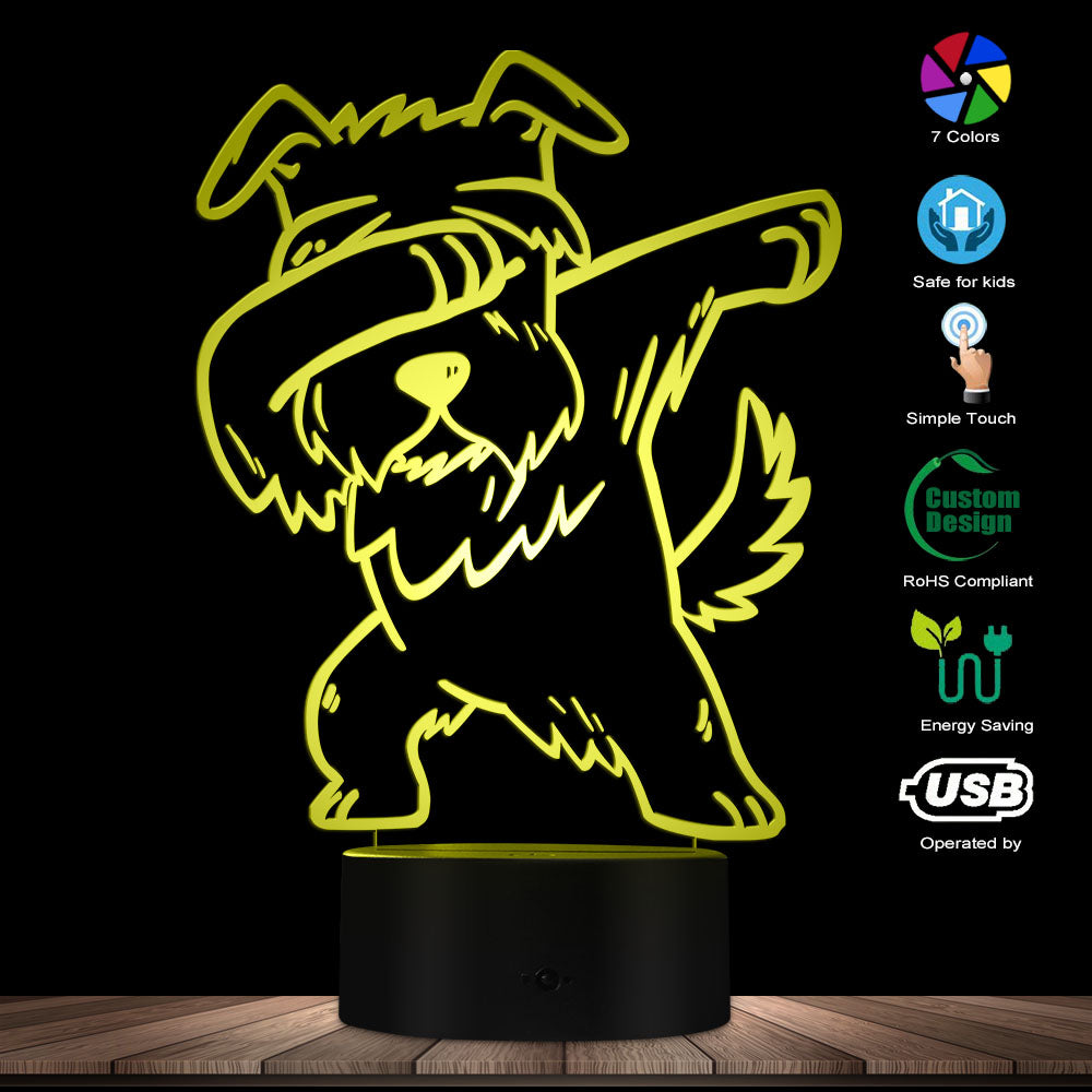 Personalized Name Dabbing Schnauzer Lighting 3D Optical illusion Light USB Modern Night Lamp DAB Dog Animal Glowing LED Light