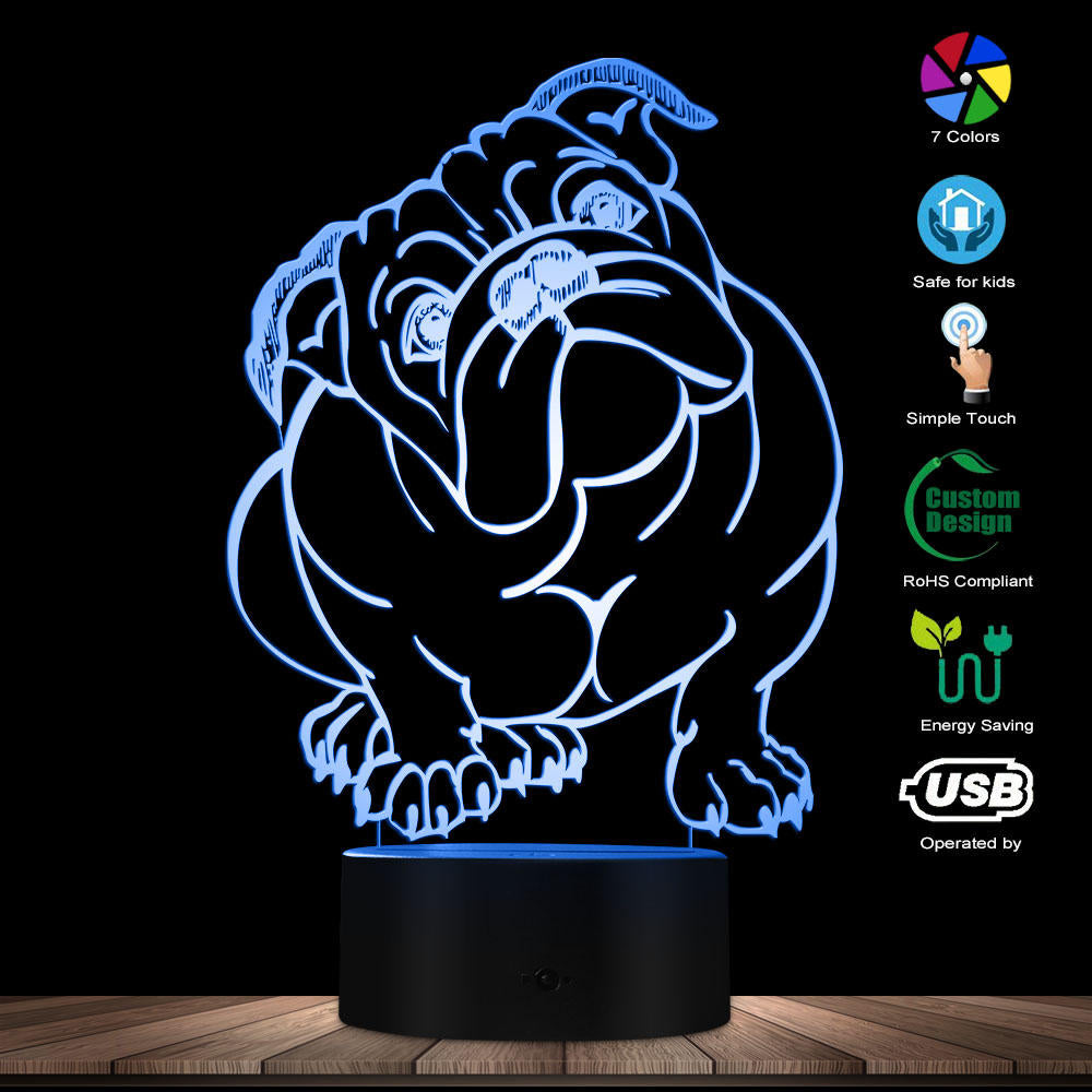 Dog Breed English Bulldog Colour Changing LED Acrylic Light British Bulldog USB Decorative Lighting 3D Optical illusion Lamp