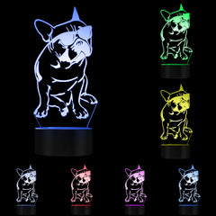 3D French Bulldog LED Night Light Pet Puppy Dog With Sunglass Decorative Lighting Home Decor Color Changing Table Visual Lamp