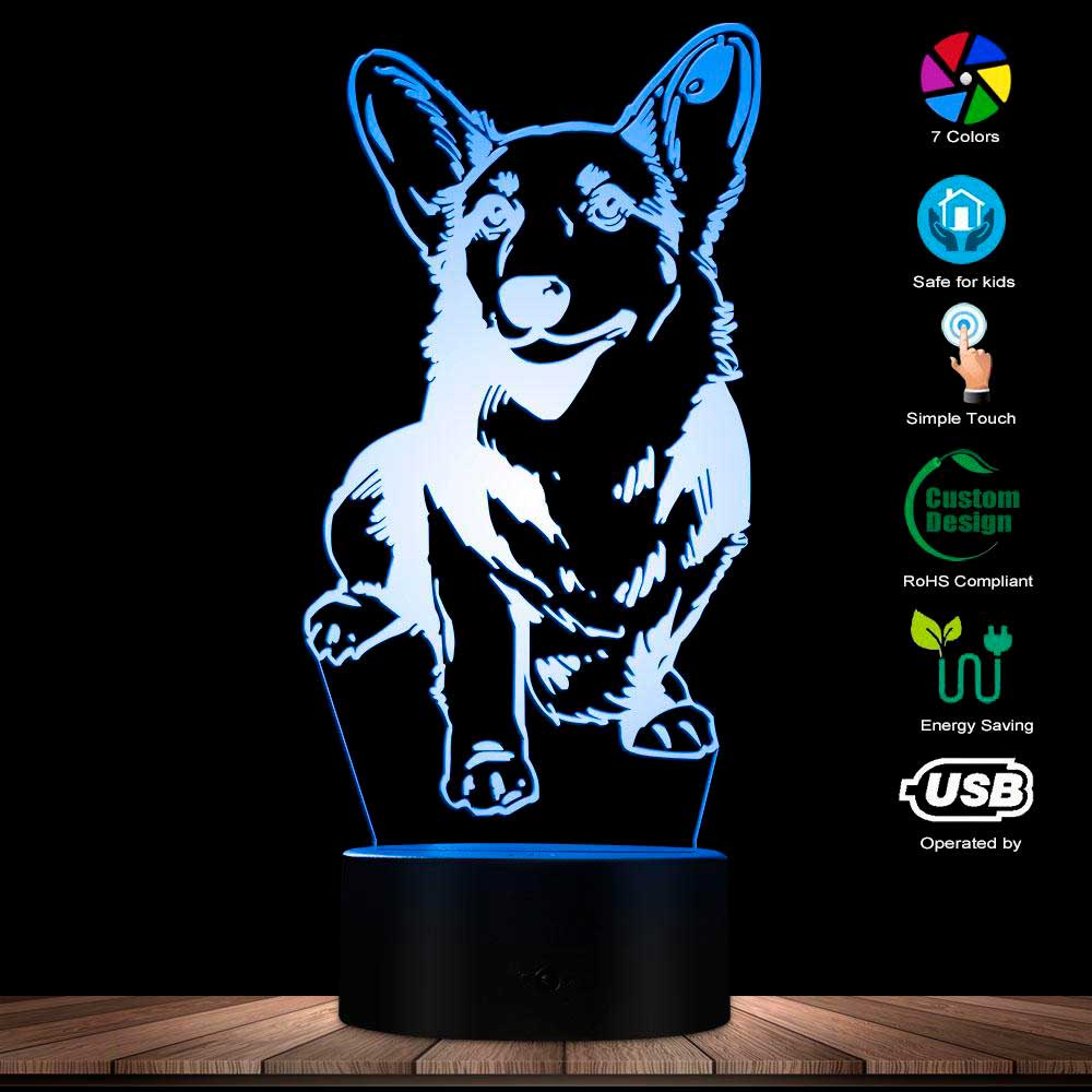 Cardigan Welsh Corgi Dog 3D Optical illusion Night Light Modern Table Visual Lamp Decor Animal Pet Hound Puppy LED Night Light