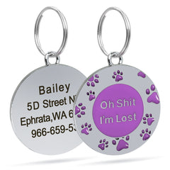 Dog Tag Personalized Custom Dogs Cat ID Tag Footprint Name Tag